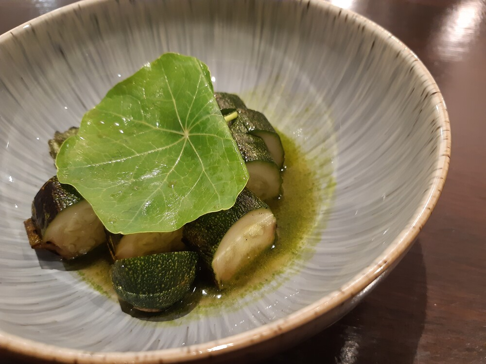 Charred courgette with wild garlic and nasturtium