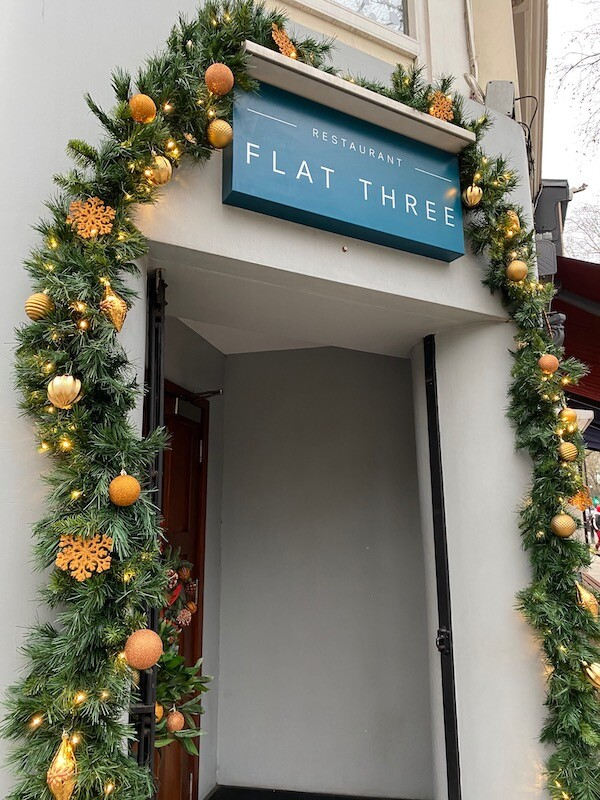 Christmas decorations at Holland Park's Flat Three Restaurant