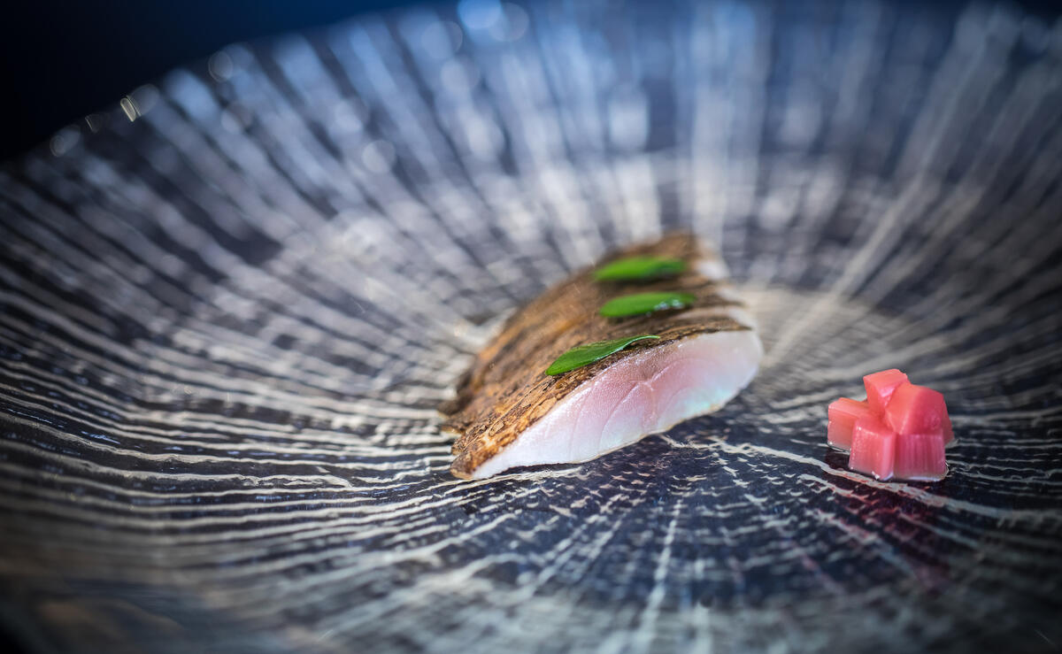 Sea bass sashimi and rhubarb