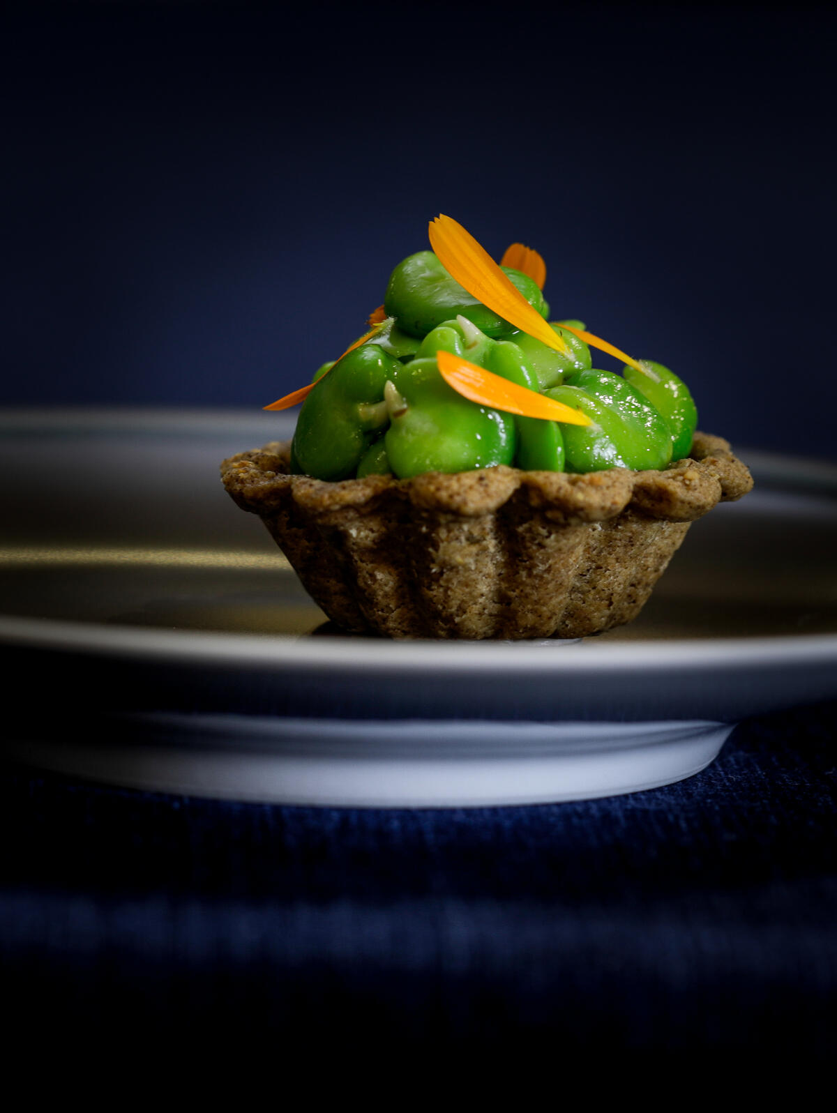 Broad bean + caramelised kombucha tart