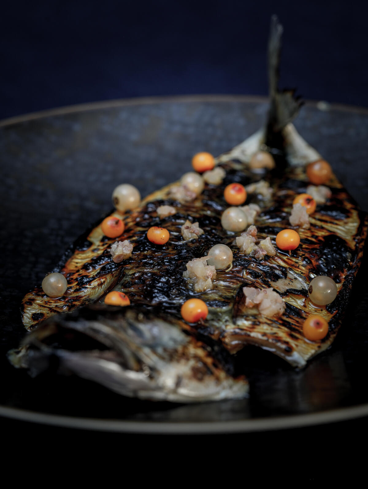 Kombucha glazed mackerel + salted gooseberries